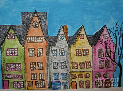 Baltimore Drawing - Five In A Row by Marcia Weller-Wenbert