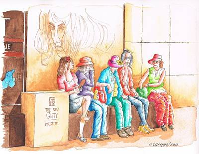 Five Ladies Talking About Art At The Getty Center Museum Los Angeles - California Art Print by Carlos G Groppa