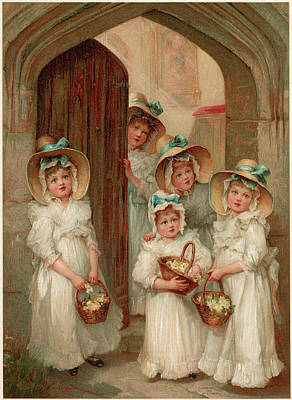 Primroses Drawing - Five Little Bridesmaids Wait by Mary Evans Picture Library