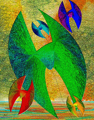 Digital Art - Five Lucky Kites by Michele Avanti