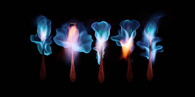 Five Magic Spoons  Art Print by Floriana Barbu
