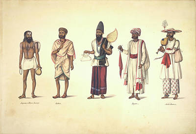 Five Male Types Standing In A Line Art Print by British Library