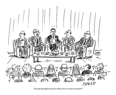 Audience Drawing - Five Men Sit On A Stage In Front Of An Audience by David Sipress
