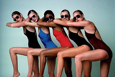 Swimsuit Photograph - Five Models Wearing Bathing Suits by Alberto Rizzo