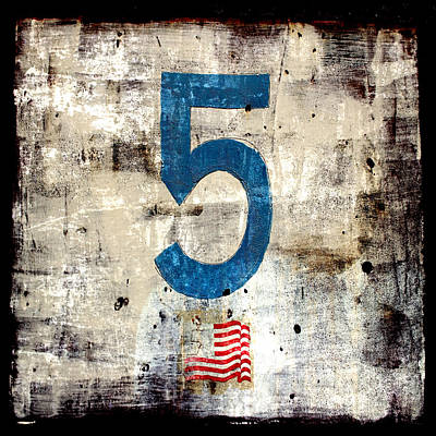 Numbers Digital Art - Five On The Flag by Carol Leigh