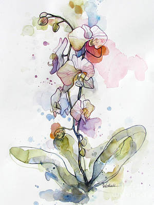 Drip Painting - Five Orchids by Wendy Westlake