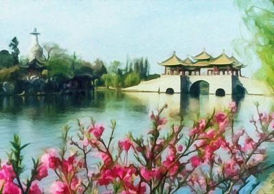 Built Structure Painting - Five Pavilion Bridge Slender West Lake 2 by Lanjee Chee