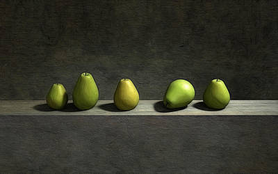 Five Pears Art Print by Cynthia Decker
