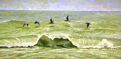 Painting - Five Pelicans by Keith Wilkie