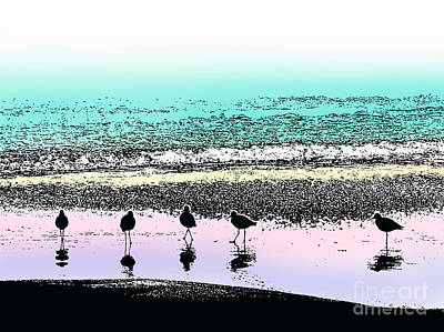 Sandpiper Digital Art - Five Pipers by Thomas Lovelace