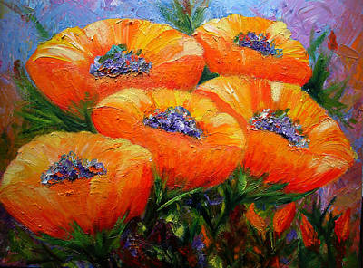 Painting - Five Poppies by Mary Jo Zorad