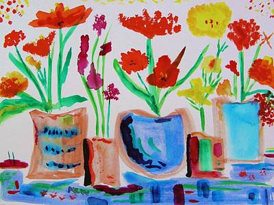 In A Row Drawing - Five Pots In A Row by Mary Carol Williams