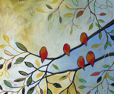 Abstract Wildlife Painting - Five Red Birds by Amy Giacomelli