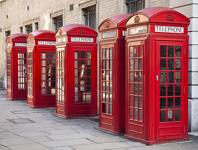 London Photograph - Five Red Phone Boxes by Liz Leyden