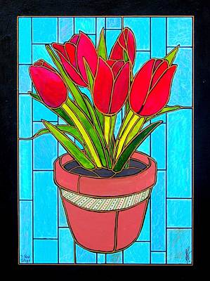 Five Red Tulips Art Print