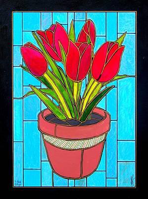 Five Red Tulips Art Print by Jim Harris
