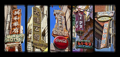 China Town Photograph - Five Signs by Kelley King