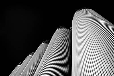 Five Silos In Black And White Art Print
