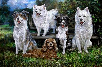 American Eskimo Dog Painting - Five Sisters by Rick Reason