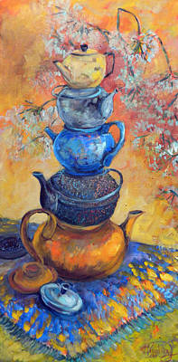 Teapot Painting - Five Teapots by Jean Groberg