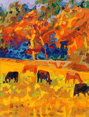 Painting - Five Texas Cows At Sunset Oil Painting By Bertram Poole by Thomas Bertram POOLE