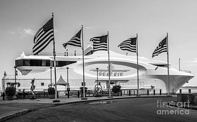 Red White And Blue Photograph - Five Us Flags Flying Proudly In Front Of The Megayacht Seafair - Miami - Florida - Black And White by Ian Monk