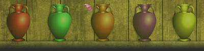 Mellow Yellow Rights Managed Images - Five Vases one flower  Royalty-Free Image by David Dehner