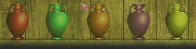 Glass Vase Mixed Media - Five Vases One Flower  by David Dehner