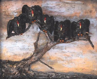 Buzzard Mixed Media - Five Vultures In Tree by R  Allen Swezey