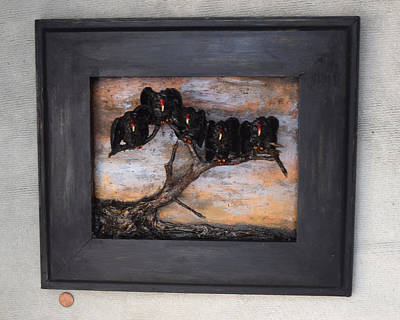 Painting - Five Vultures Wall Piece by Roger Swezey