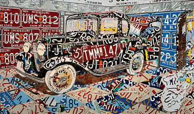 Hot Rod Mixed Media - Five Window Ford Coupe Of Type by Phil Jackson