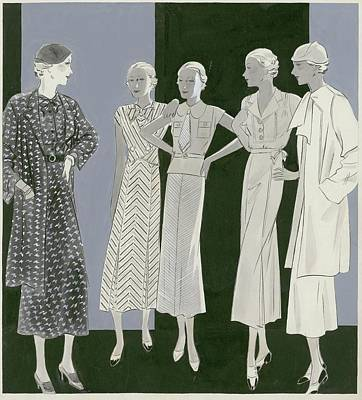 Five Women Art Print by Artist Unknown