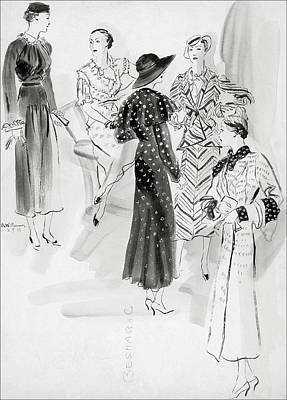 Sitting Digital Art - Five Women Wearing Chanel by Rene Bouet-Willaumez