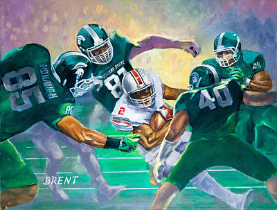 Michigan State Painting - Five Yard Loss by Robert Brent