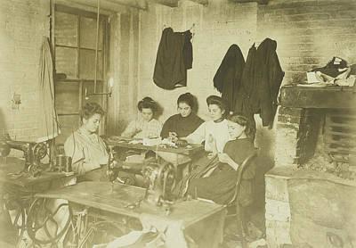 Studio Drawing - Five Young Seamstresses In A Studio, Lewis Wickes Hine by Artokoloro