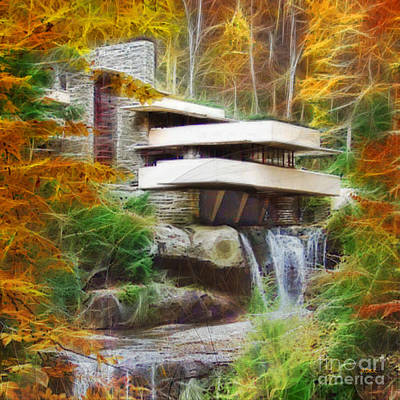 Digital Art - Fixer Upper - Square Version - Frank Lloyd Wright's Fallingwater by John Robert Beck