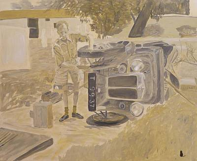Fixing Painting - Fixing The Car by Jonathan Laverick