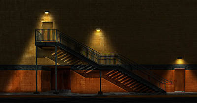 Photograph - Shadowy Staircase by Frank J Benz