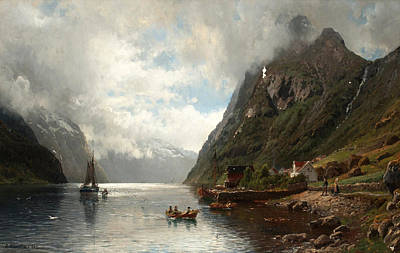 Landscape With Figure Painting - Fjord Landscape With Figures by Anders Askevold