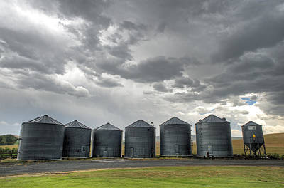 Grey Clouds Photograph - Flack Silos by Latah Trail Foundation