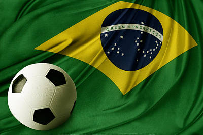 Footballs Closeup Photograph - Flag And Ball by Les Cunliffe