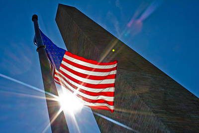 Photograph - Flag And Washington Monument  by John McGraw