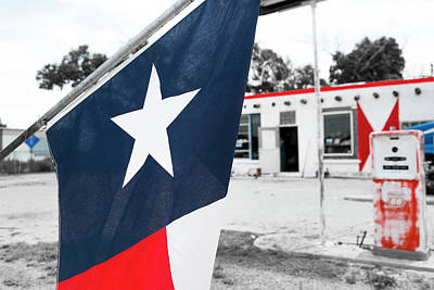 Sixty Photograph - Flag At An Antique Gas Station, Adrian by Julien Mcroberts