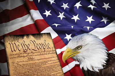 Flag Constitution Eagle Art Print by Daniel Hagerman
