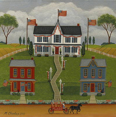 July Painting - Flag Day by Mary Charles
