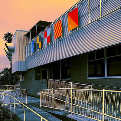 Flag Day Night North Shore Yacht Club Salton Sea Art Print by William Dey