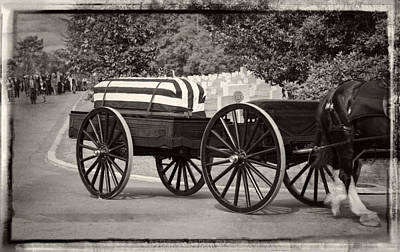 Horse Photograph - Flag Draped Casket At Arlington With Border by Greg Mimbs