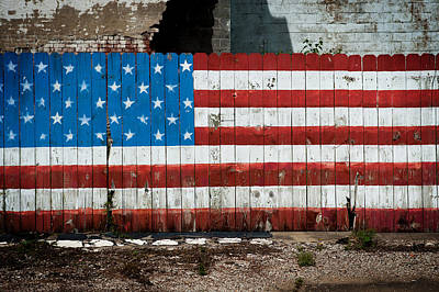 Flag Fence Art Print by Bud Simpson