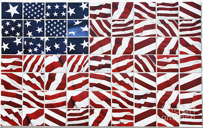 Photograph - Flag Mosaic by Crystal Nederman