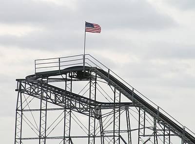 Jetstar Photograph - Flag Mounted On Seaside Heights Roller Coaster by Melinda Saminski